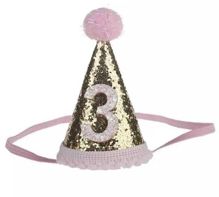 SS212 - Pembe 3 Yaş Birthday Koni Şapka