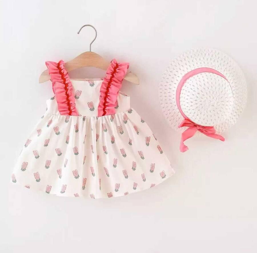 SUM21 - Pembe Ananas Desenli Elbise ve Şapka 2'li Set