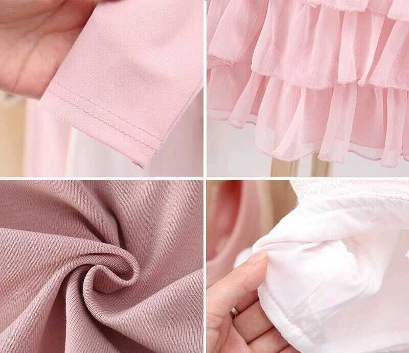 Pembe Elbise Ve Beyaz Yelek 2'li Takım - Thumbnail