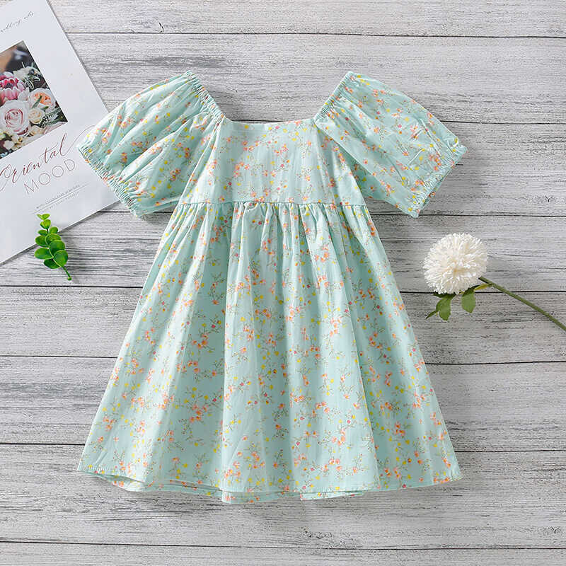 SUM21 - Pembe Fiyonklu Yeşil Çiçekli Elbise