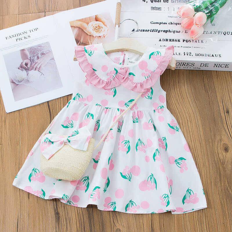 SS212 - Pembe Kiraz Desenli Elbise Ve Çanta 2'li Set