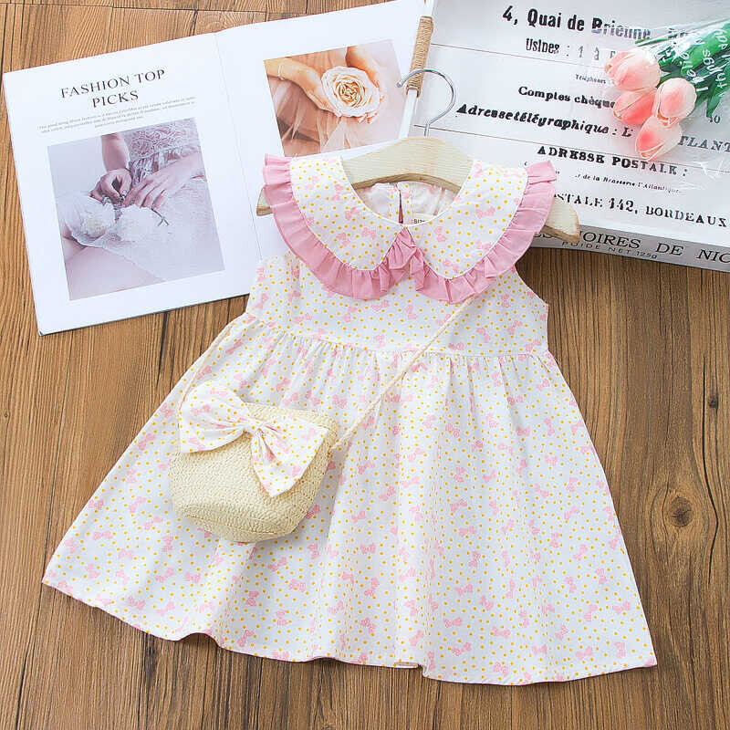 SS212 - Pembe Kurdele Desenli Elbise Ve Çanta 2'li Set