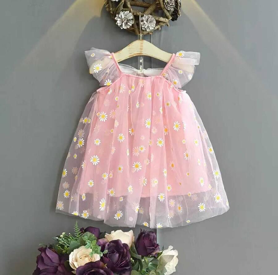 SUM21 - Pembe Papatya Desenli Elbise