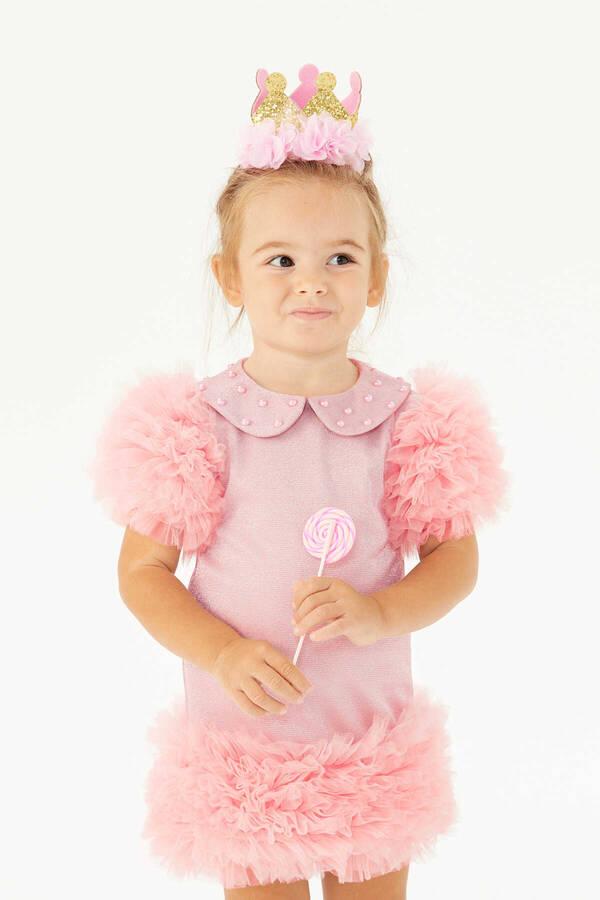 FW21 - Pembe Tütü Elbiseİnci Detaylı Queen-New Candy