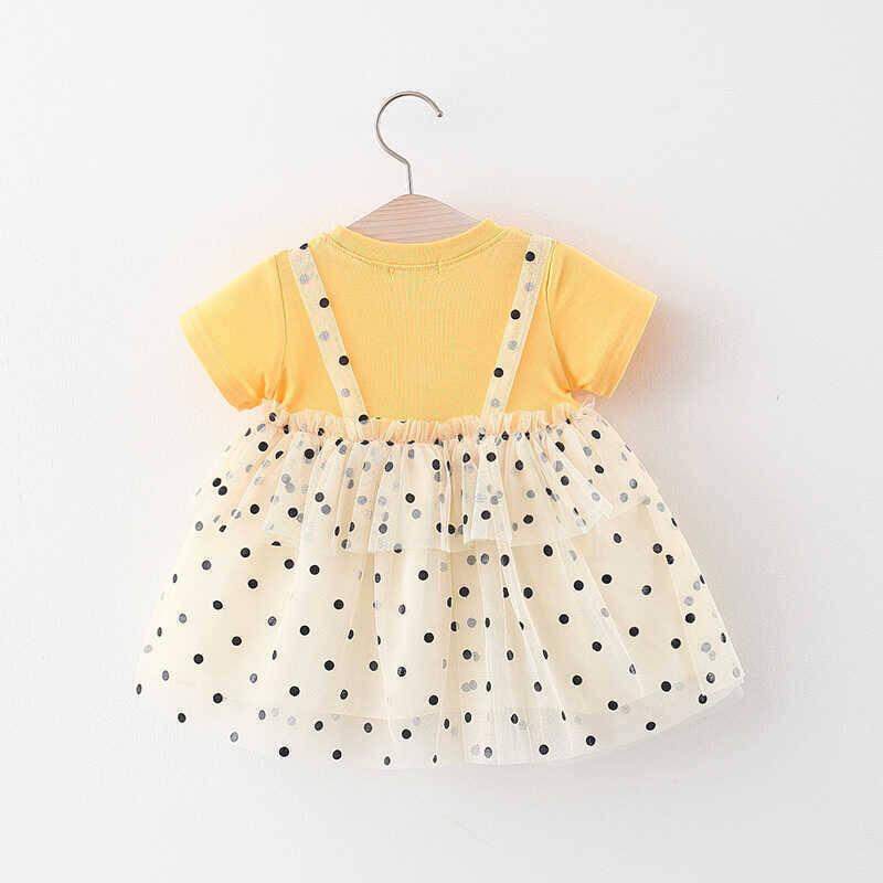 Puantiye Detaylı Sarı Tül Elbise - Thumbnail