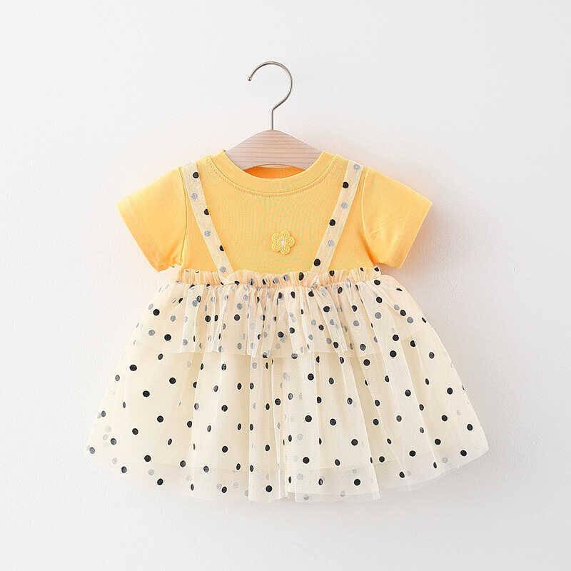 SUM21 - Puantiye Detaylı Sarı Tül Elbise