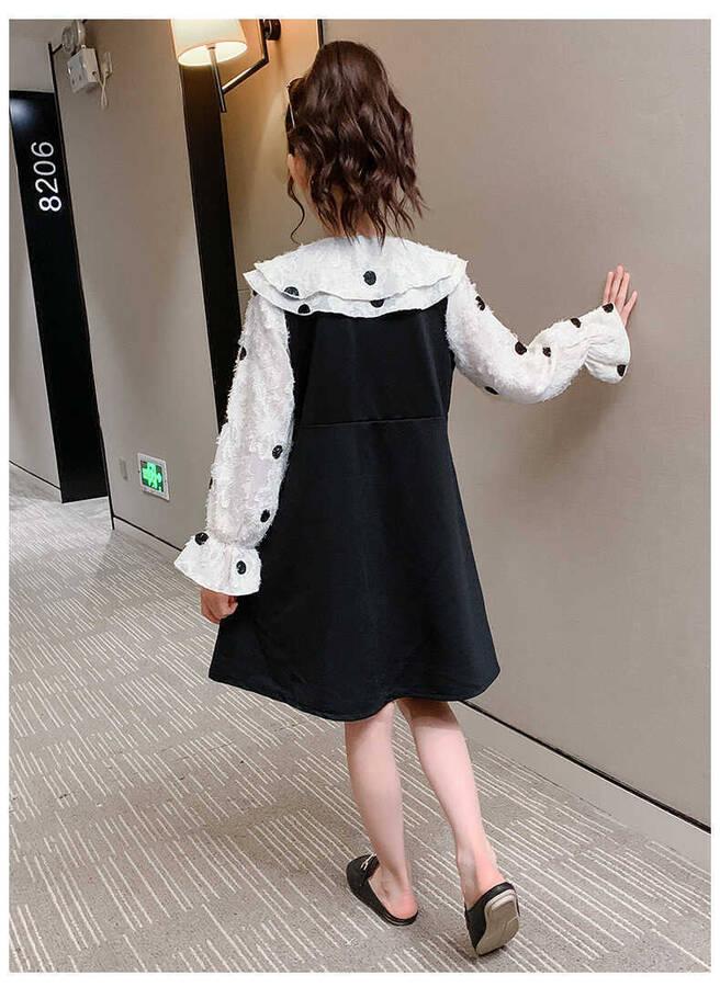 Puantiye Detaylı Siyah Elbise - Thumbnail