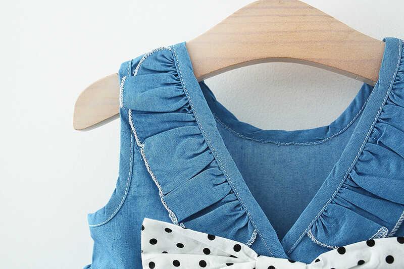 Puantiye Fiyonk Detaylı Mavi Elbise