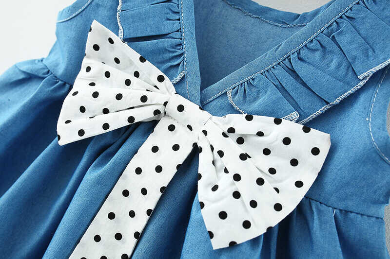 Puantiye Fiyonk Detaylı Mavi Elbise - Thumbnail