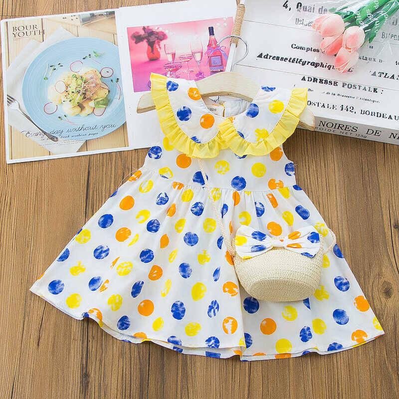 SS212 - Renkli Benek Desenli Elbise Ve Kurdele Çanta 2'li Set
