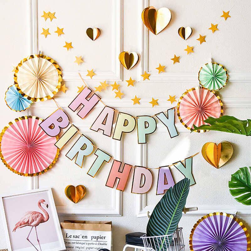 - Renkli Harf Baskılı Doğum Günü Bayrağı