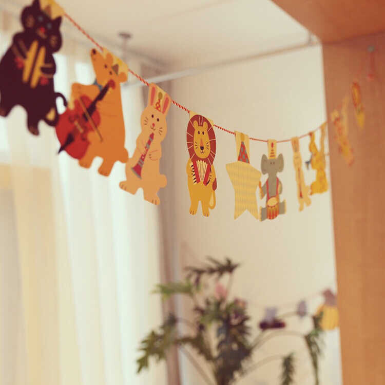 SS212 - Renkli Hayvan Figürlü Doğum Günü Bayrağı
