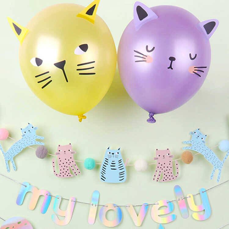 SS212 - Renkli Kedi Ve Köpek Figürlü Doğum Günü Bayrağı