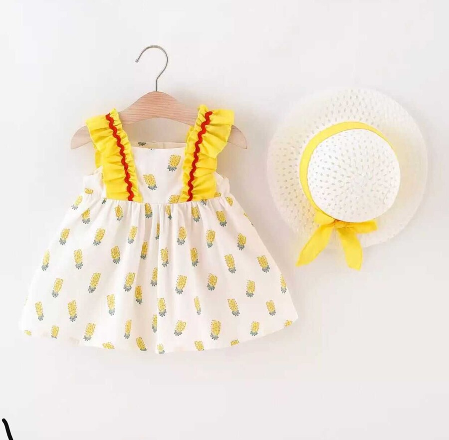 SUM21 - Sarı Ananas Desenli Elbise Ve Şapka 2'li Set
