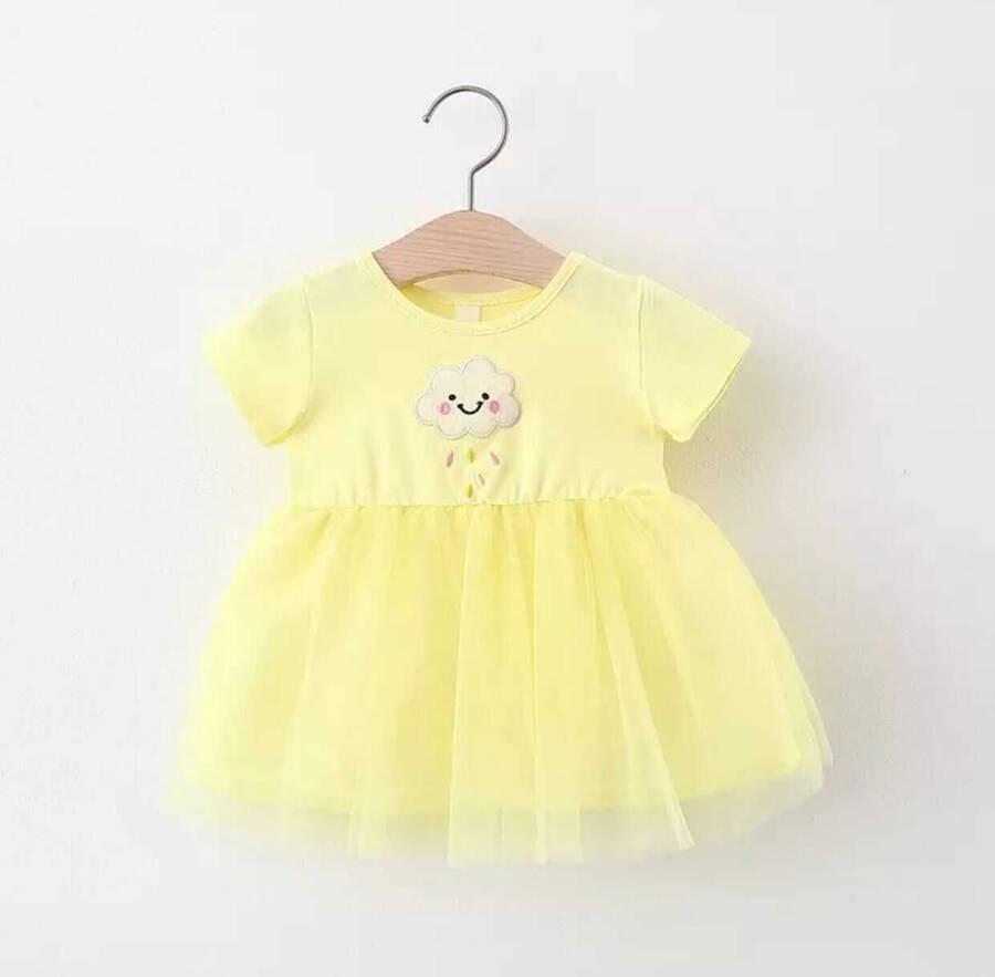 SUM211 - Sarı Bulut Tüllü Elbise