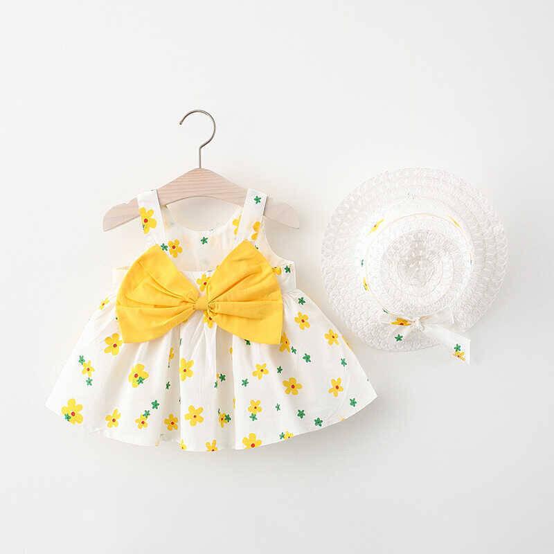 SUM21 - Sarı Çiçek Desenli Beyaz Elbise Ve Şapka 2'li Takım