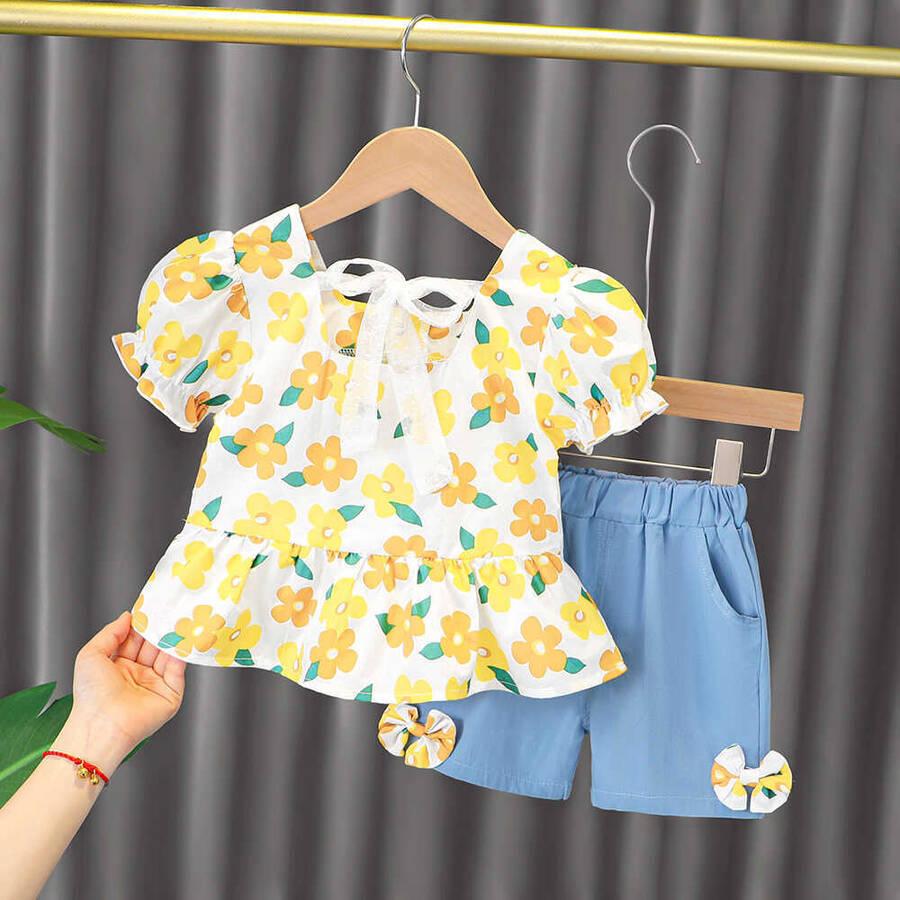 SUM211 - Sarı Çiçek Gömlek ve Şort