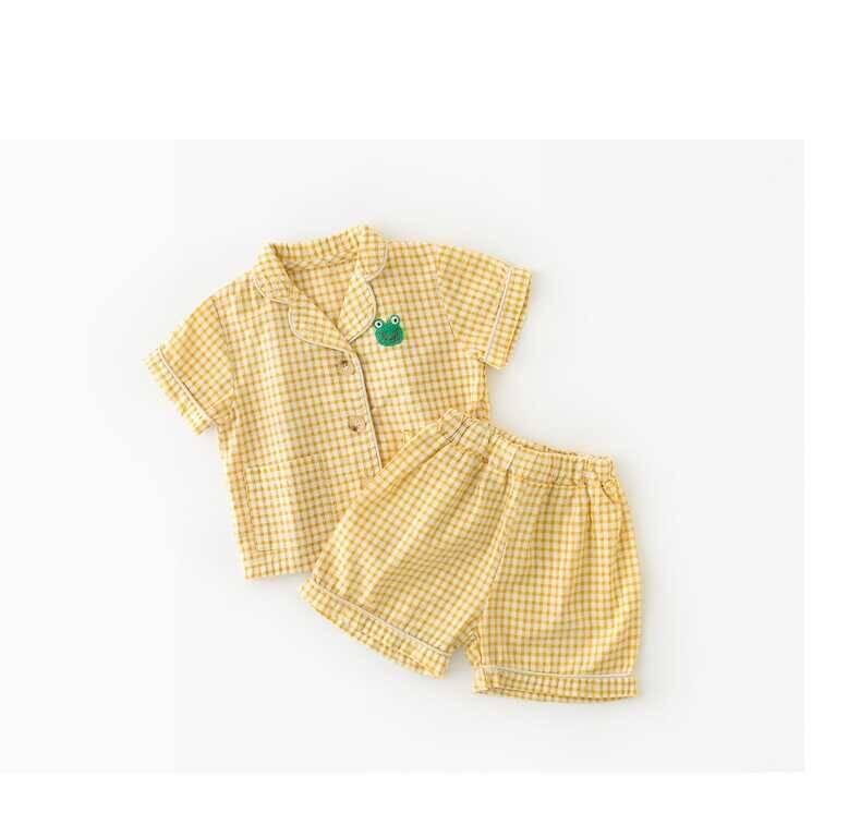 SUM21 - Sarı Ekose Desenli Pijama Takımı