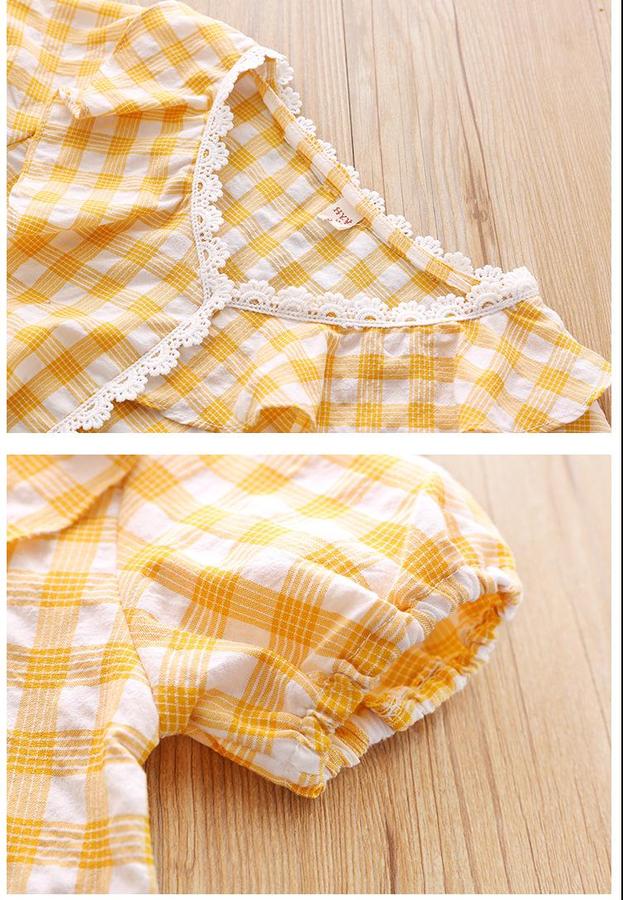 SS212 - Sarı Ekose Detaylı Gömlek Ve Krem Etek 2'li Takım