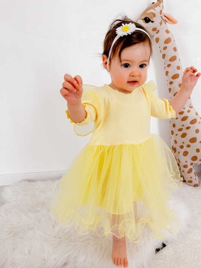 BBS - Sarı Kanat Kısa Kol Elbise