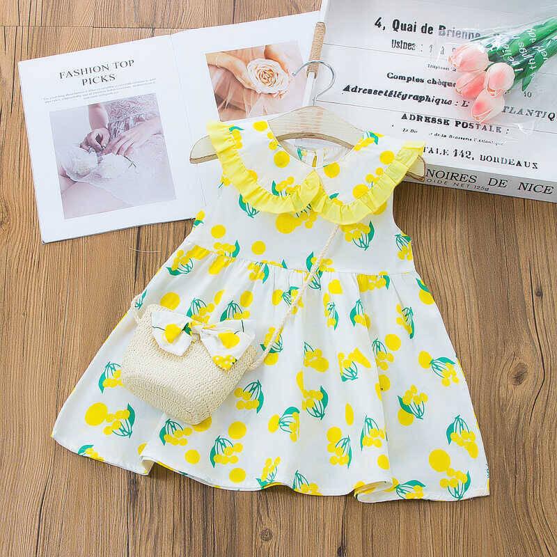 SS212 - Sarı Kiraz Desenli Elbise Ve Çanta 2'li Set