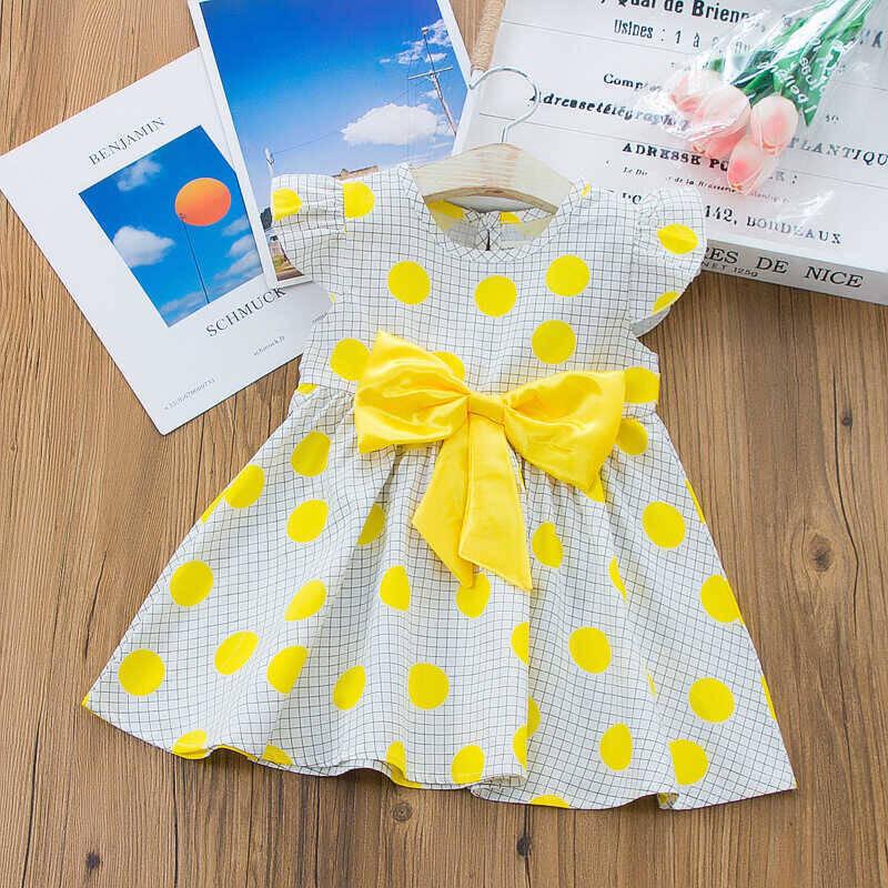 SS212 - Sarı Puantiye Detaylı Kurdele Elbise