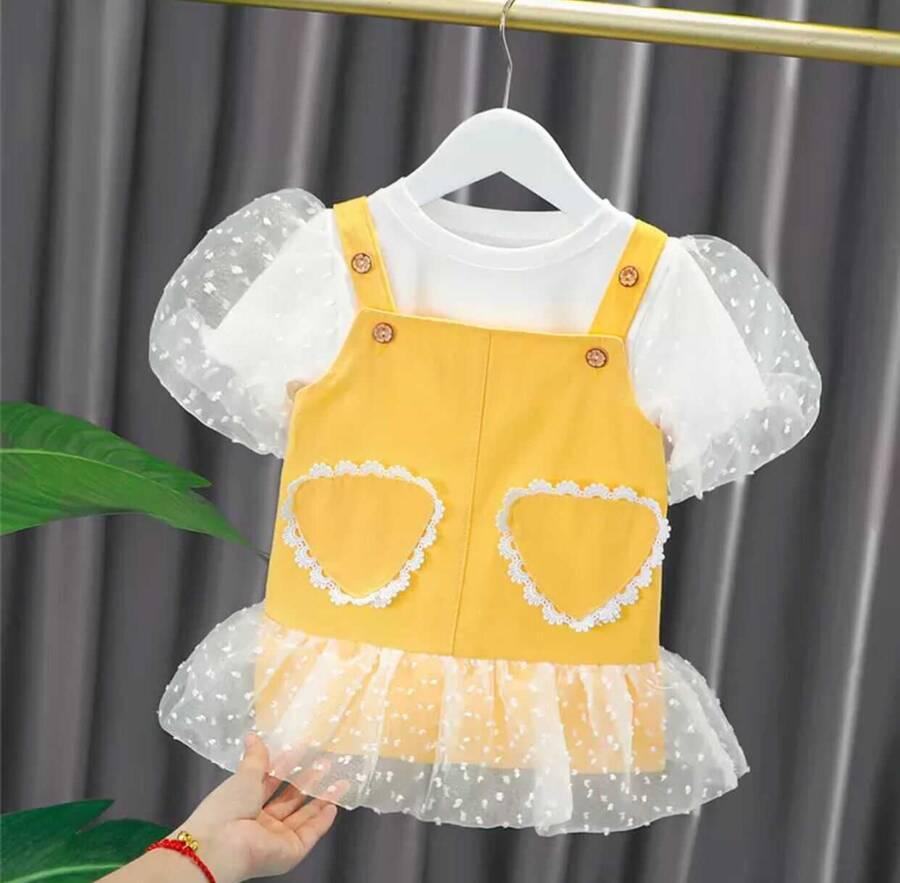 SUM211 - Sarı Salopet T'-shirt 2'li Takım