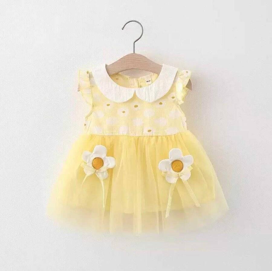SUM211 - Sarı Tül Bebe Yaka Elbise