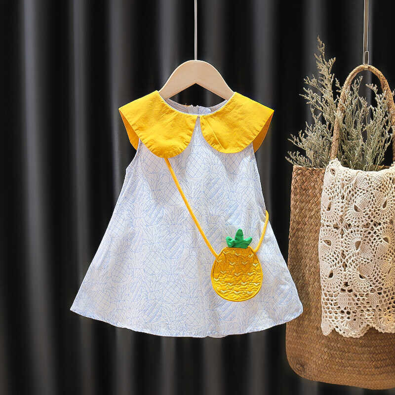 SUM211 - Sarı Yaka Beyaz Elbise