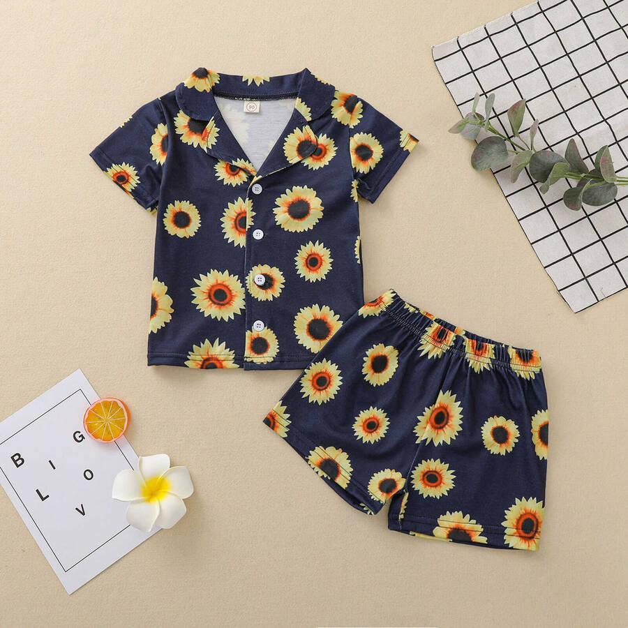 SS212 - Siyah Ayçiçek Desenli Şort Pijama Takımı