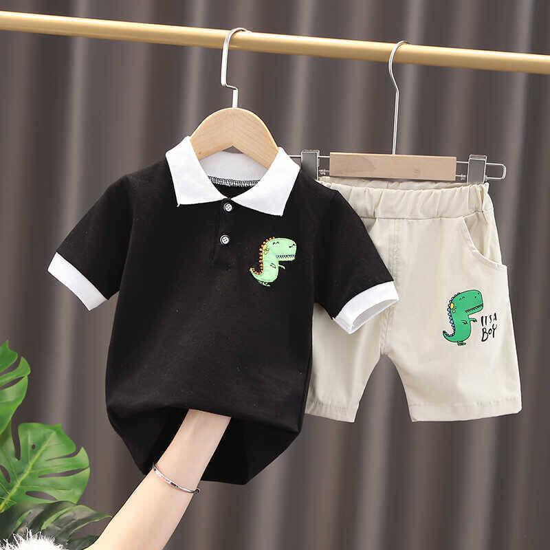 SUM21 - Siyah Dinazor Tshirt Ve Krem Şort 2'li Takım