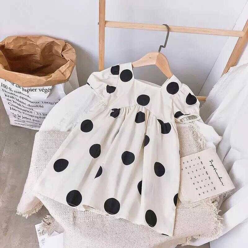 SS212 - Siyah Puantiye Desenli Beyaz Elbise