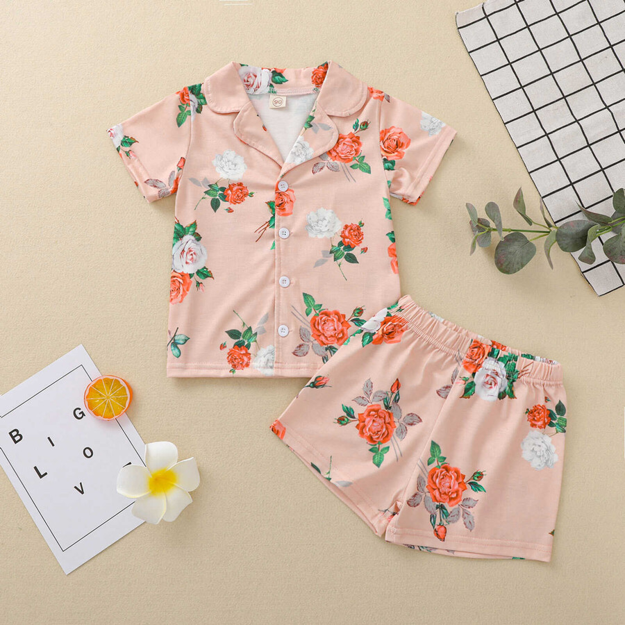 SS212 - Somon Çiçek Desenli Şort Pijama Takımı
