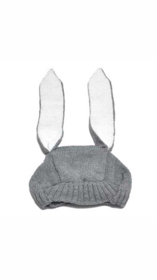 LHB2 - Tavşan Kulaklı Gri Şapka