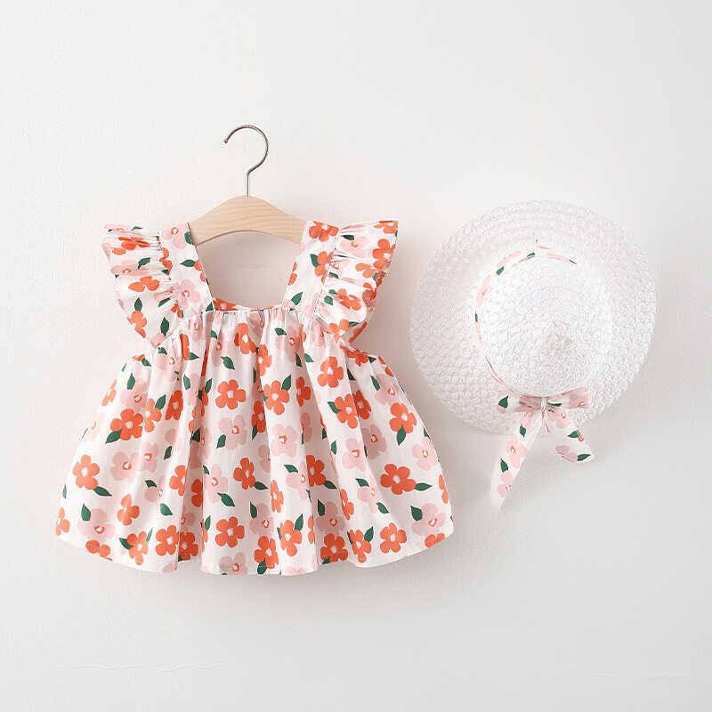 SS212 - Turuncu Çiçek Desenli Elbise Ve Şapka 2'Lİ Set