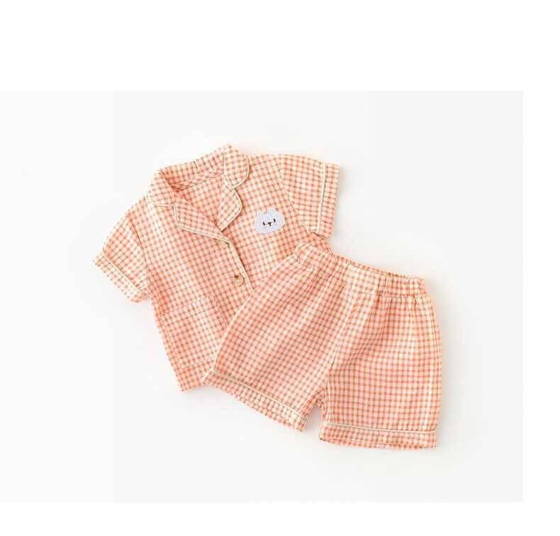 SUM21 - Turuncu Ekose Desenli Pijama Takımı