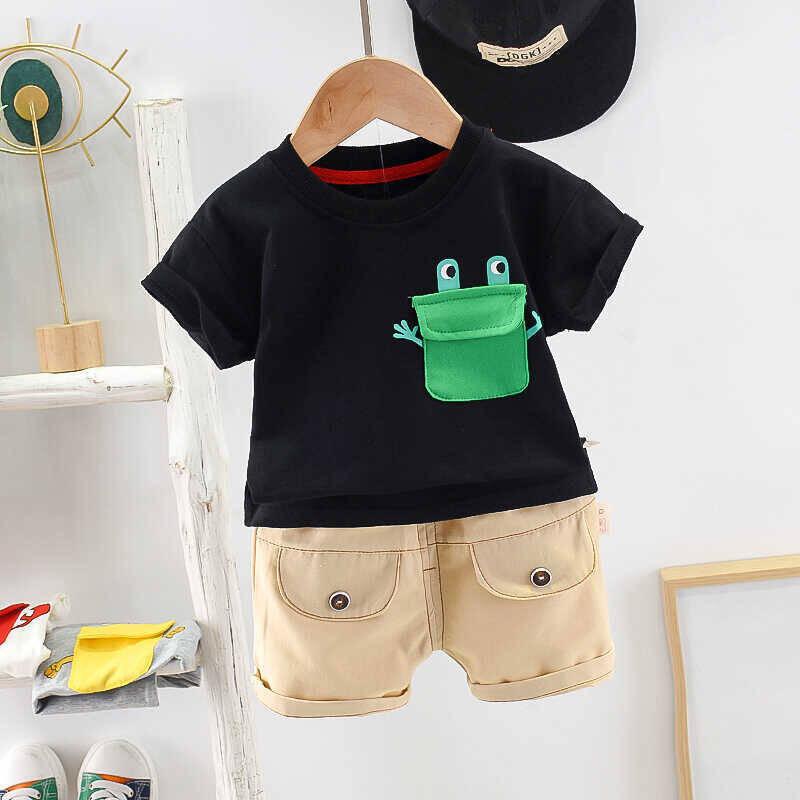 SUM21 - Yeşil Baskı Detaylı Lacivert Tshirt Ve Krem Şort 2'li Takım