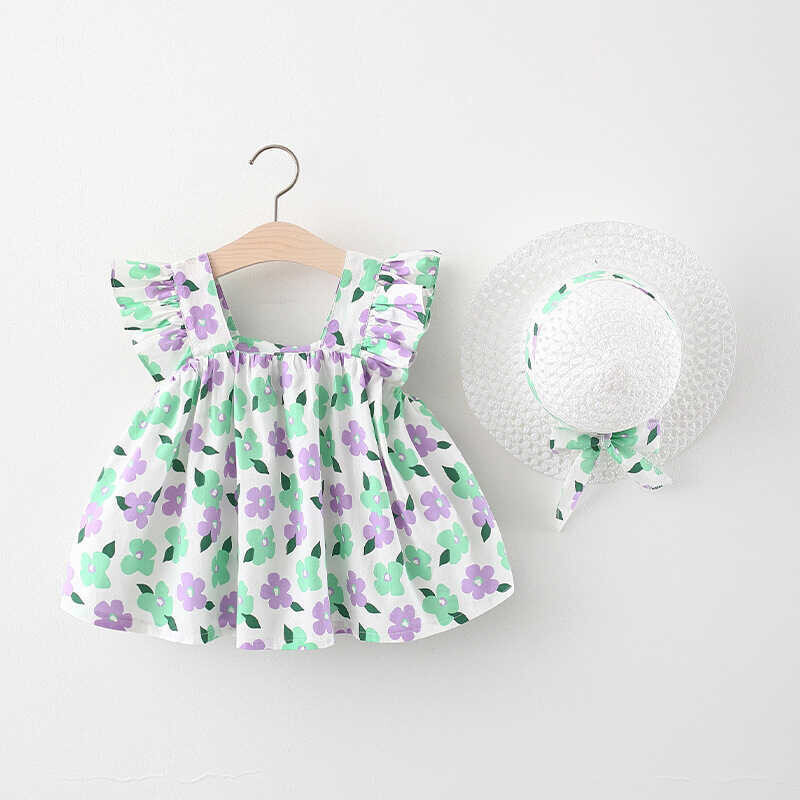 SS212 - Yeşil Çiçek Desenli Elbise Ve Şapka 2'Lİ Set