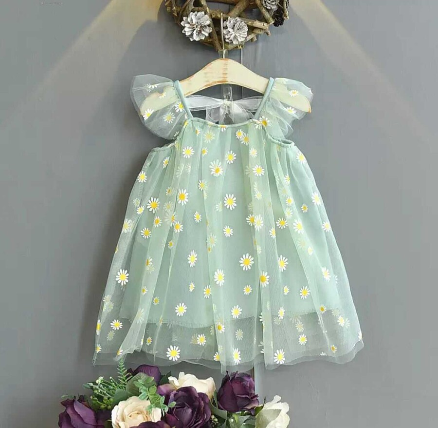 SUM21 - Yeşil Papatya Desenli Elbise